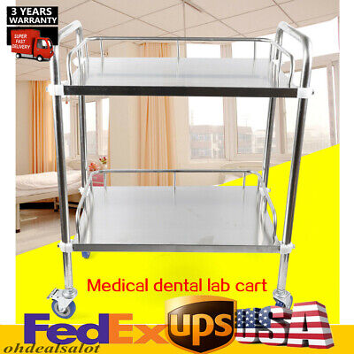2 Layers Cart Trolley Stainless Steel Serving Laboratory Device Durable Hotsale