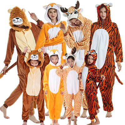Adult Tiger Lion Deer Fox Animal Costume Pajamas One Piece for Adults and Teens (Lion Costume For Teens)