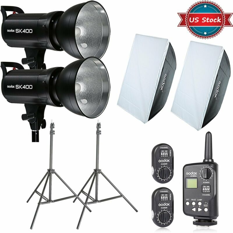 Godox SK400 800Ws Studio Flash Lighting + Softbox Light Stands FT-16 Trigger Kit