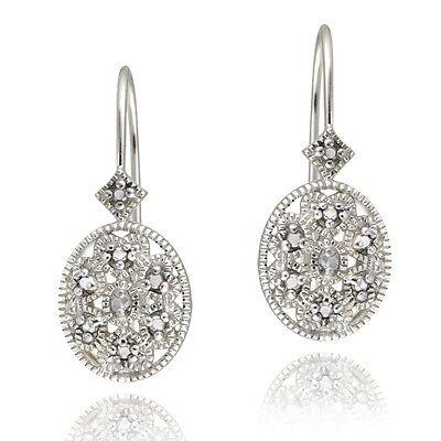 925 Sterling Silver Diamond Accent Filigree Leverback (Diamond Accent Leverback Earrings)
