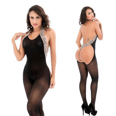 Leopard Women's Sexy Lingerie Babydoll Sleepwear Underwear BLACK Dress Set