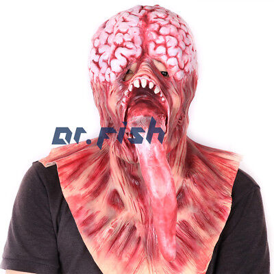 Scariest Halloween Head  Mask Brain Pulp With Long Red Tongue Latex Mask Monster - Scariest Mask