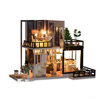 3D Wooden LED Dollhouse Miniature Furniture Doll House Kit Toys DIY Children Lot