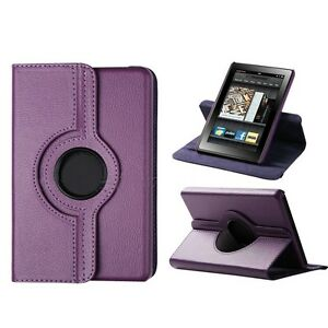 360 Degree Rotating PU Leather Stand Cover Case For Amazon Kindle Fire