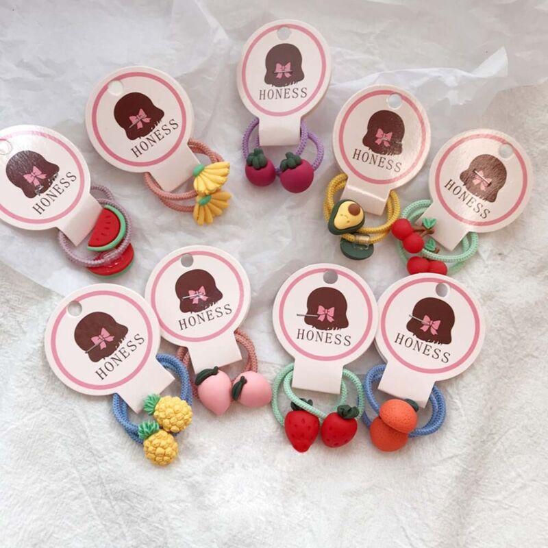 2Pcs Fruit Carrot Baby Girl Kids Ponytail Elastic Hair Rope Rubber Band Headwear