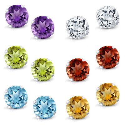 - 925 Silver Amethyst Topaz Garnet Citrine Peridot Stud Earrings Set of 6