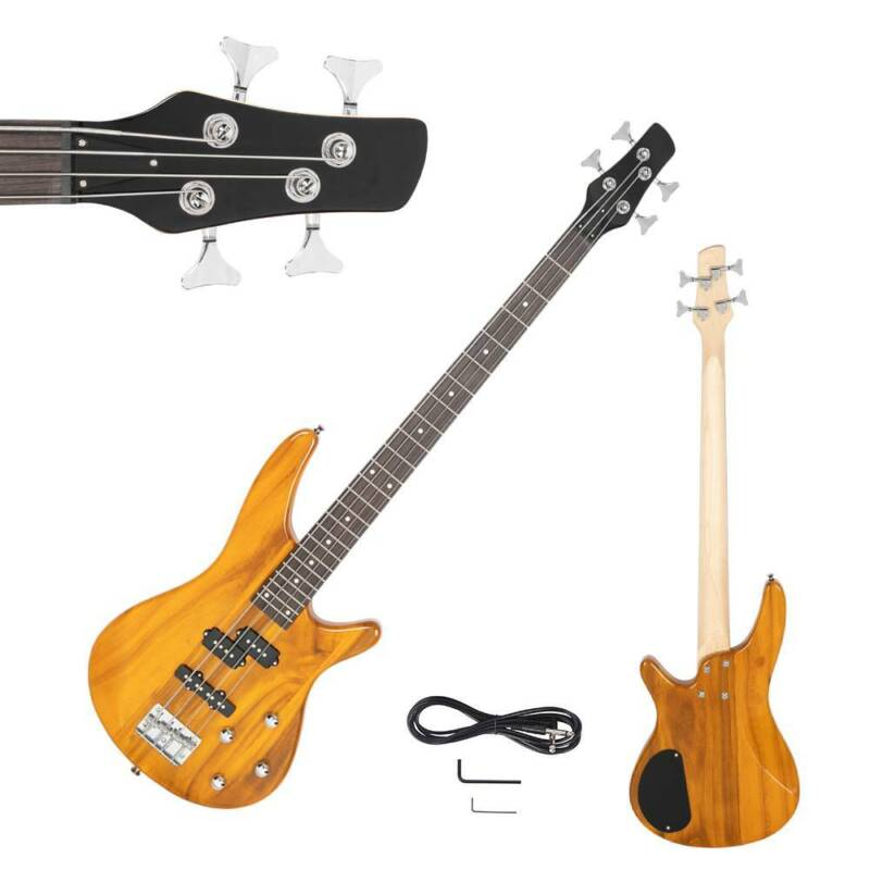 New IB Basswood 24 Frets Electric Bass Guitar Transparent Yellow