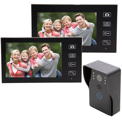 """Wireless 7"""" Color Video Door Phone Doorbell Home Intercom IR Camera 2 Monitors"""
