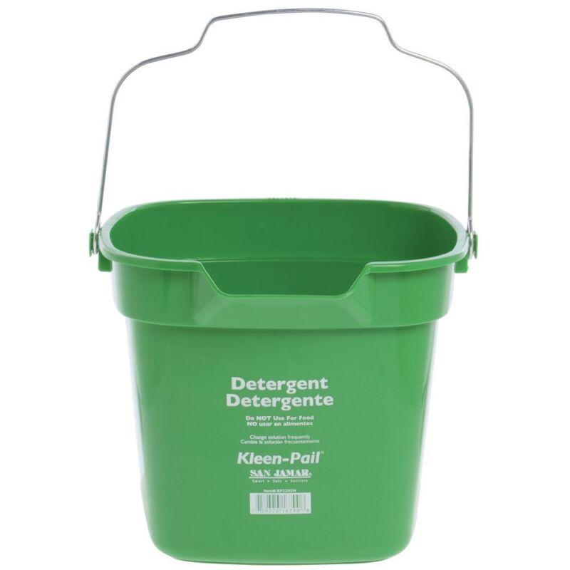 """San Jamar 10 qt Green Plastic Kleen-Pail Cleaning Bucket - 12 3/4""""L x 13 3/8""""W x"""