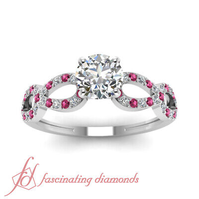 Pink Sapphire Engagement Ring 0.71 TCW. Round Cut Diamond SI2 14K GIA Certified 2