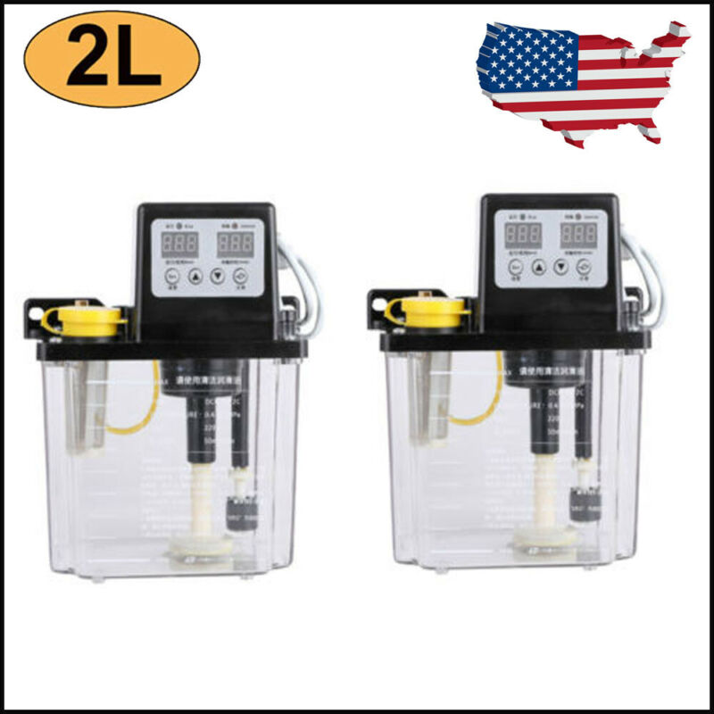 2Pcs 2L Dual Digital Display Automatic Electric Lubrication Pump Oiler NC Pump