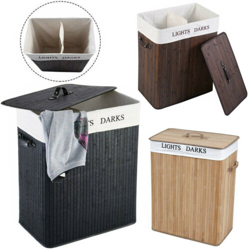 Bamboo Laundry Hamper Basket Dirty Clothes Storage Organizer