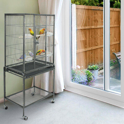 "Bird Cage Large Parrot Play Cockatiel House 53"" Metal Stand Doors w/ 4 Casters"