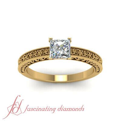 Yellow Gold Solitaire Celtic Engagement Ring With 3/4 Carat Princess Cut Diamond 1
