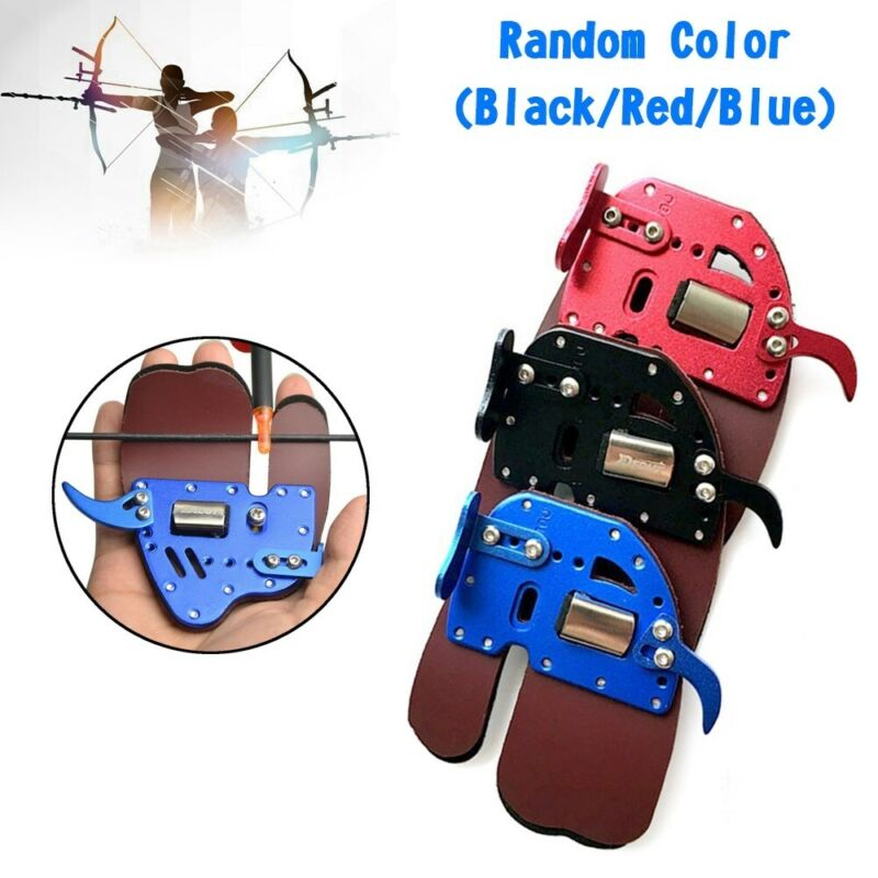 Archery Finger Tab Guard Bow Protector Gear Leather Adjustable S3