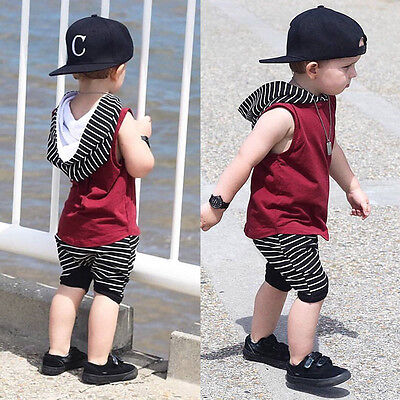 Newborn Kids Baby Boys Hooded Vest Tops Shirt+Short Pants Outfit Clothes Set K5