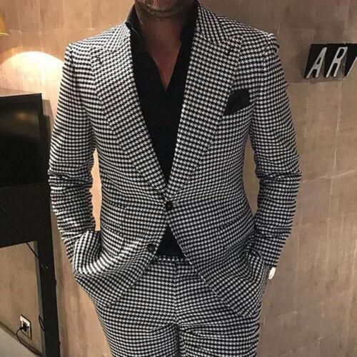 Mens Black&White Houndstooth Tweed Blazer Suits Groom Prom Wedding Tuxedos Lapel