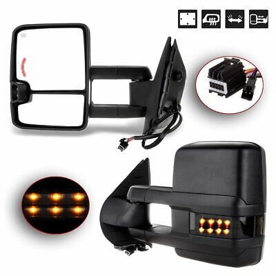 Pair for 2007-2014 Chevy Silverado Sierra Tow Power Heated LED Signal Mirrors