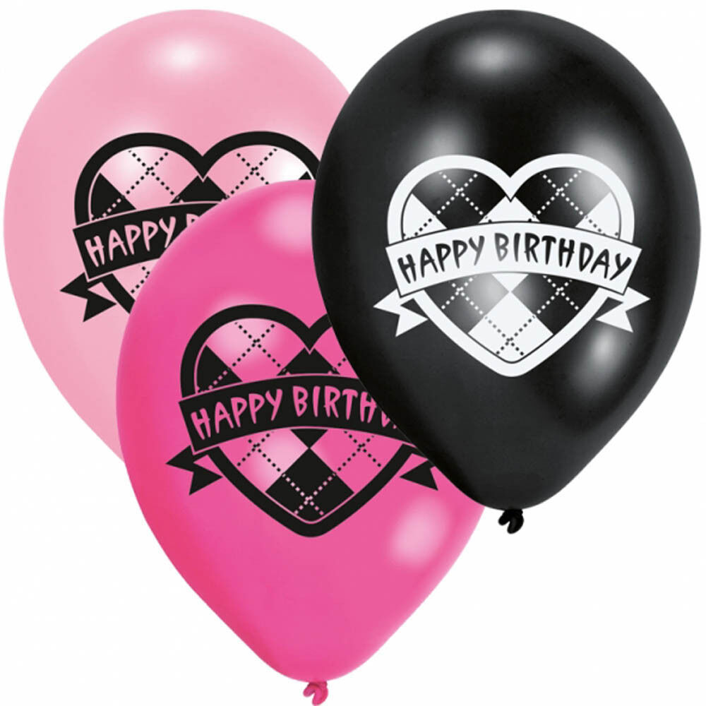 Pink Happy 18th Birthday Balloon: 6 Monster High Party Heart Happy Birthday Pink Black