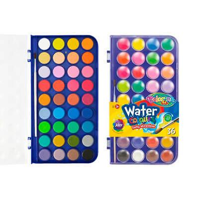 36 Farben Colorino Aquarellfarben Deckfarbkasten Wasserfarben Malkasten + Pinsel