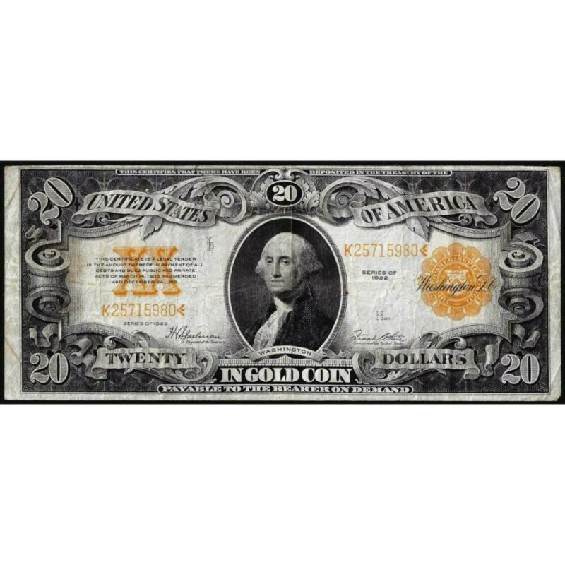 1922 $20 GOLD CERTIFICATE LARGE CURRENCY FINE ATTRACTIVE RARE NOTE