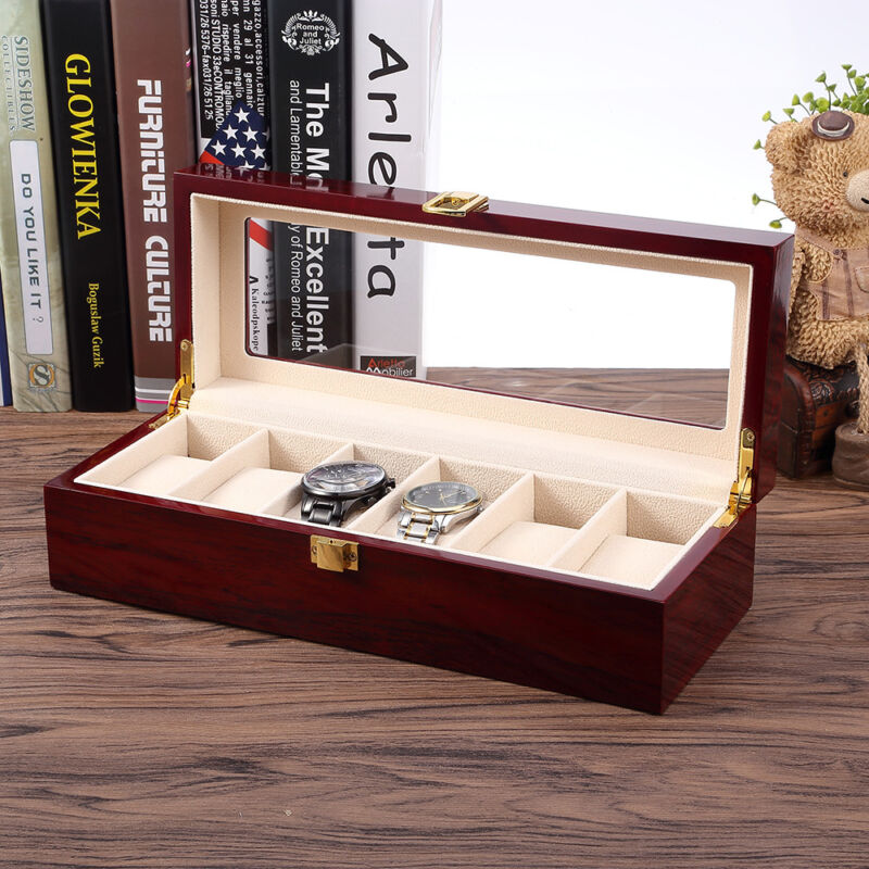 6 Uhren Uhrenboxen Uhrenetui Uhrenkasten Watch Display Case Box aus Holz Wood