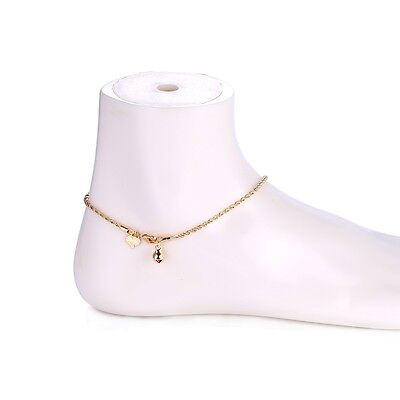 """9K 9ct Yellow """"Gold FILLED"""" Girls Heart & Bell Rope ANKLE CHAIN ANKLET. 10.6"""""""