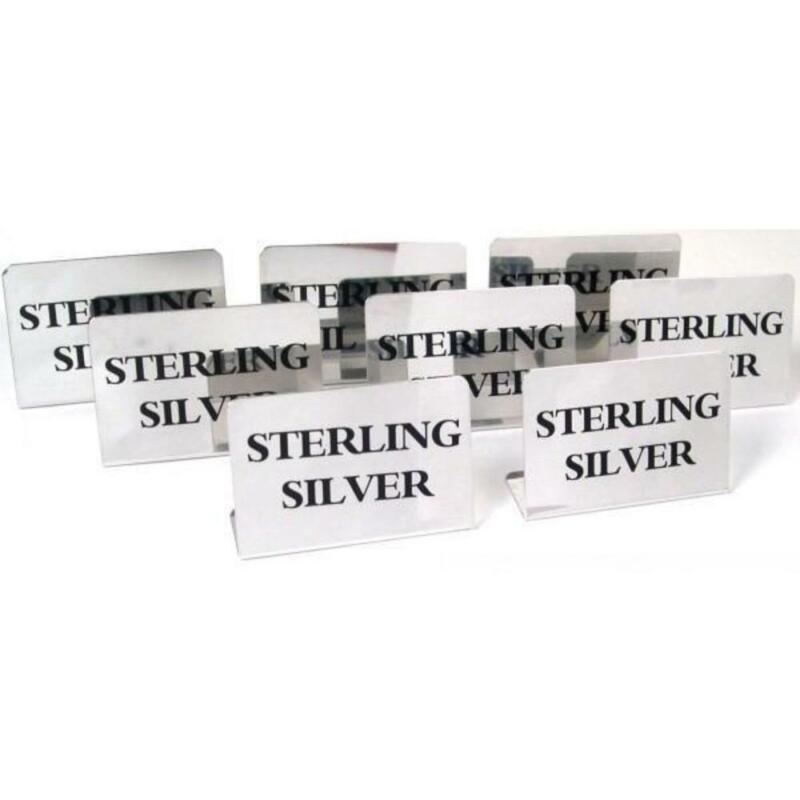 8 Display Signs Sterling Silver Showcase Jewelry