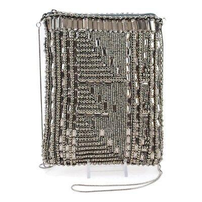 Mary Frances High Tech Pewter Beaded Mini Cross-body Zip Mutli Handbag Bead (Mini Tech Cross Body)