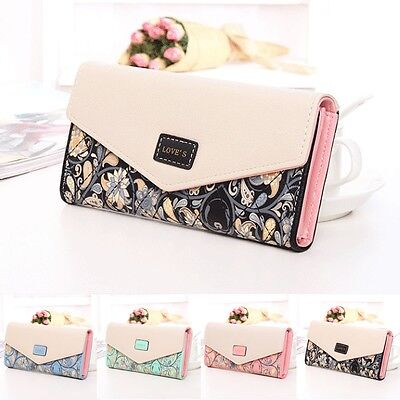 Womens Ladies Envelope Leather Wallet Card Button Clutch Purse Long Handbag Bag