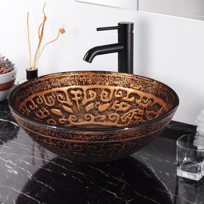 Bathroom Vessel Sink Tempered Glass Round Antique Totem Vanity Museum Bowl Basin