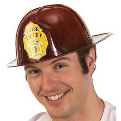 Fireman Fire Chief Red Helmet Plastic Adult Cosplay Halloween Costume Accessory