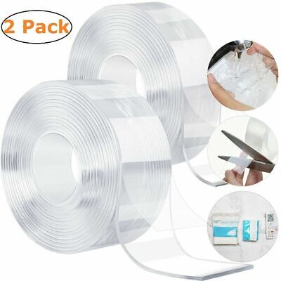 (2 Pack) Nano Magic Tape Double-Sided Traceless Washable Adhesive Invisible Gel Adhesives & Tape