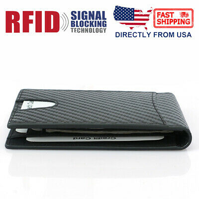 Real Leather Slim Wallet For Men with Money Clip Carbon Fiber RFID Blocking Case