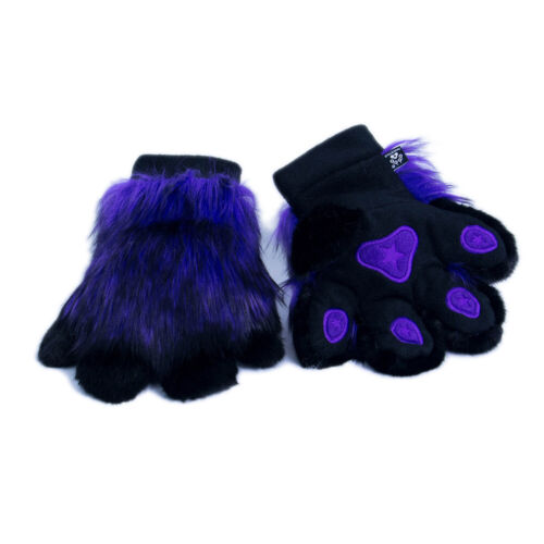 PAWSTAR Pawmitts - Furry Hand Paw Gloves Fursuit Costume Purple Black [PUW]3181