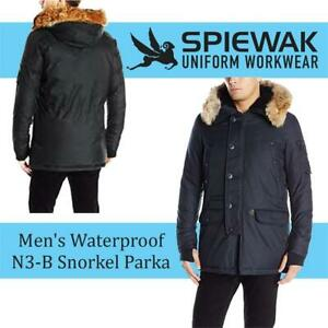 NEW Spiewak Mens Waterproof N3-B Snorkel Parka with Fur Trimmed Hood Condtion: New, Large, Total Eclipse
