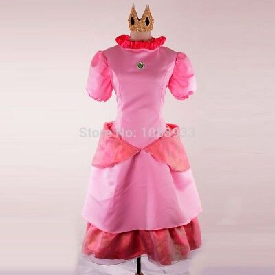 Deluxe Damen Prinzessin Pfirsich Kostüm Cosplay Mario Spielen Outfit Kleid Peach ()