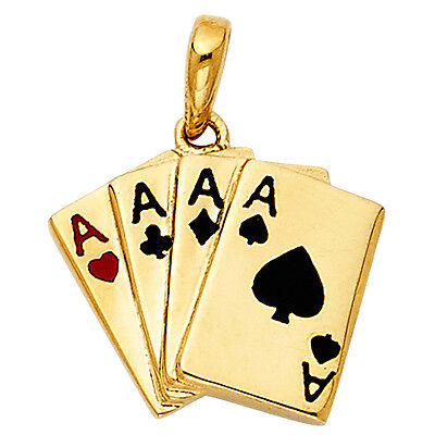 14K Solid Yellow Gold 4 four Aces Poker Card Black Red Wining Hand Charm Pendant