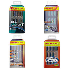 Gillette Fusion & Mach 3 Value Packs of 10x or 13x replacement blades from