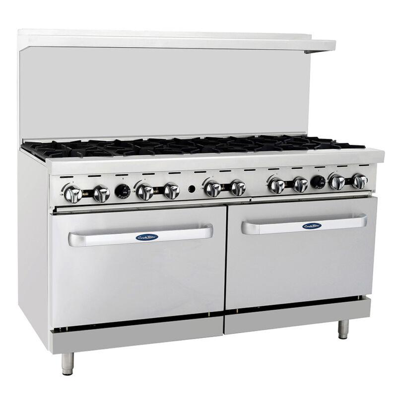 "Atosa Ato-10b Cookrite 60"" (10) Burner Gas Range W/ Dual Ovens"