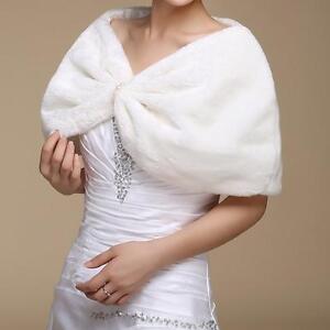 Fax Fur Bridal Wedding Ball Shawl Wrap Bolero Shrug Stole Jacket Cape White New
