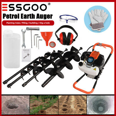 52cc 2-stroke Earth Auger Gas Powered Post Hole Digger Machine 3 Drill Bits Us