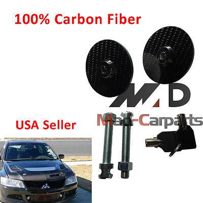 1 Pair UNIVERSAL RACING Mount Bonnet Carbon Fiber Hood Pin Key Locking Kit