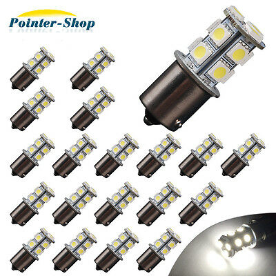 20x Pure White 1156 1141 13 SMD RV Camper Trailer LED Interior Light Bulbs 12V