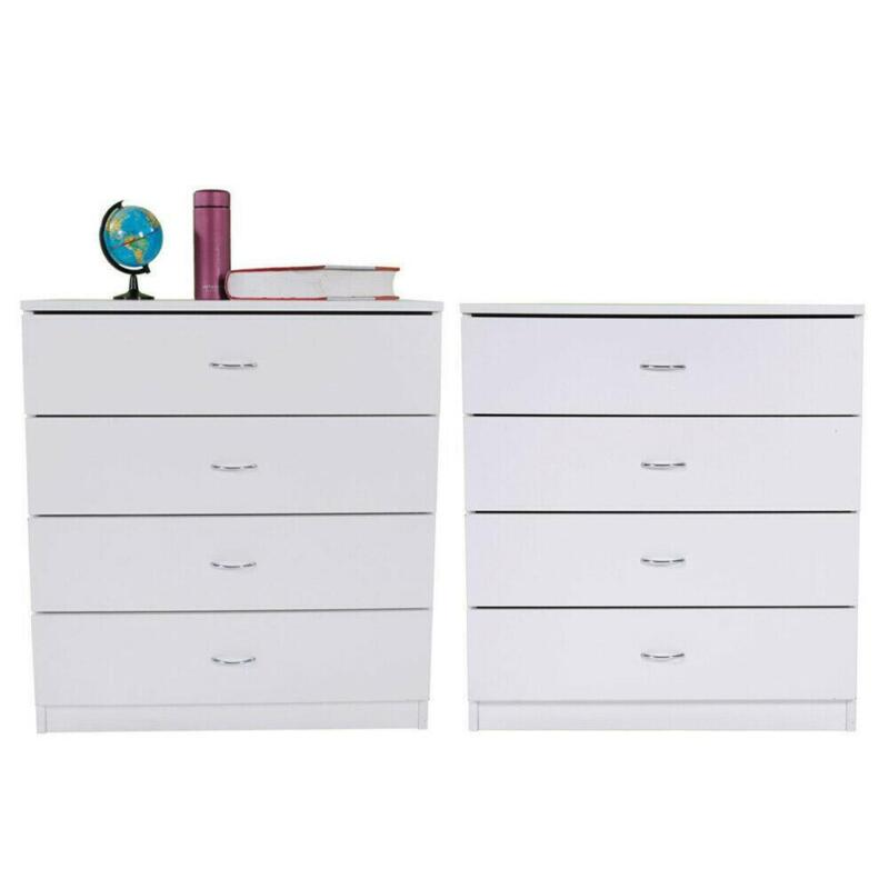 Set of 2 Bedroom 4 Dressers Drawers Wooden Storage Organizer Furniture White