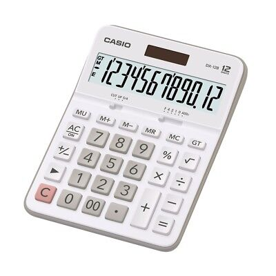 Casio DX-12B-WE Electronic Calculator 12-Digit EXTRA LARGE LCD Twin Power WHITE