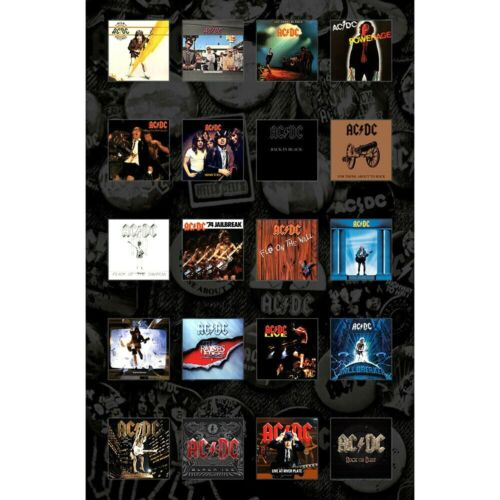 AC/DC Complete Discography Vinyl Records Flag Poster Wall Hanging Fabric Banner