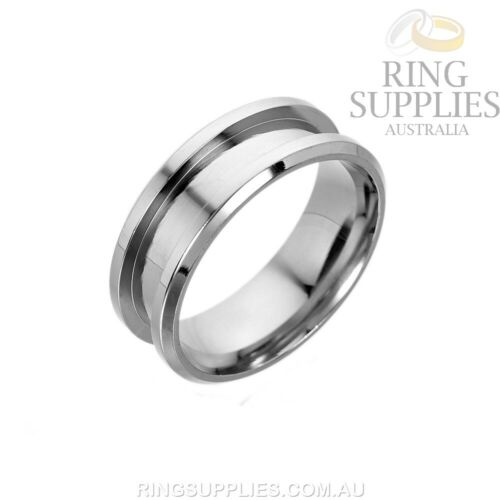 4mm Stainless Steel Ring Blank with 2mm channel ring inlay