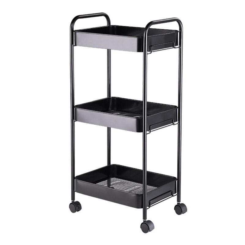 3Tier Rolling Utility Carts Storage Organizer Kitchen Cart Black Art Craft Shelf