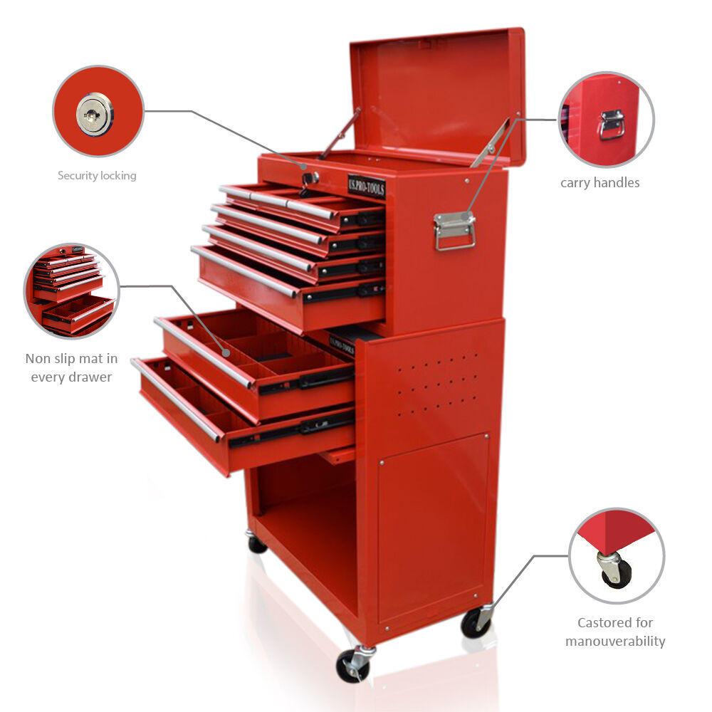 357 us pro tools red tool chest box free drawer divider roll cabinet